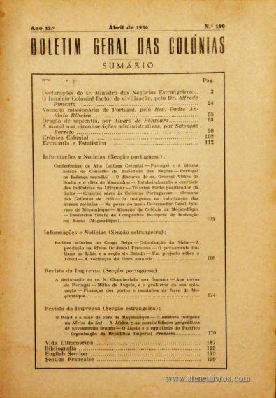 Boletim Geral das Colónias – Ano 12.ª – Abril de 1936 – N.º130 – Agencia Geral das Colónias – Lisboa – 1936. Desc. 202 pág. / 22,5 cm x 16 cm / Br «€12,50»