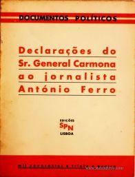 Declaração do Sr. General Carmona ao Jornalista António Ferro «€5.00»