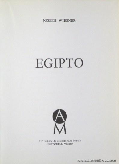 Joseph Wiesner – Egipto - Editorial Verbo – Lisboa – 1971. Desc. 205 pág / 21 cm x 15,5 cm / E. Ilust. «€13.00»