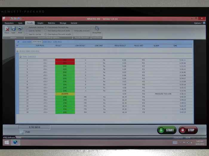 Hydra Silver leak tester screen showing Excel results