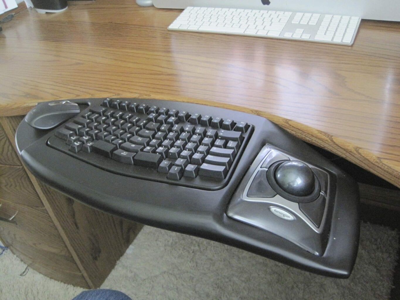An adapted workstation, including an ergo keyboard and track-ball mouse.