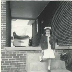 Fran as Nurse Doll with awkwardly twisted leg.