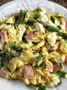 asparagus, green onion, mozzarella scramble