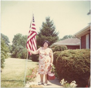 Mom with American Flag late 70's