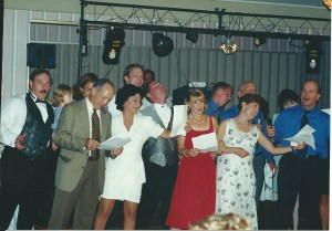 """The Tunno Family Singers in their only performance singing, """"That's Amore."""" Wedding attendees just sort of looked at us like we were crazed. Was it worth it? YES!"""