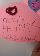 Nate's sweet signature on my personalized Valentine's Day card.