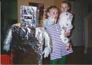 Robot Andy, Alex and Milena the dalmation on Halloween.