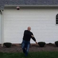 Bernie throwing football