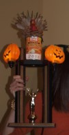 Trophy close up- note Elissa clutching glory.