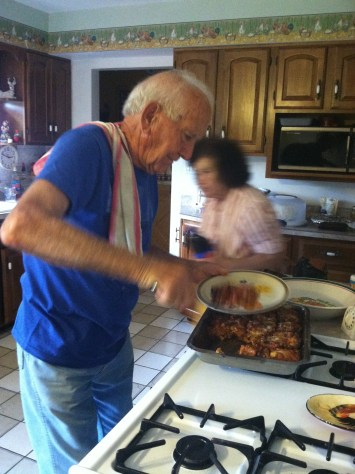 Uncle Richard serving eggplant parmegiano