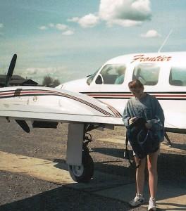 Chris arrives in Bettles, Alaska in 1996! Photo by Angela Gonzalez