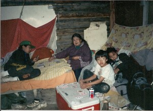 Lydia Simon and grandchildren in camp in 1980s