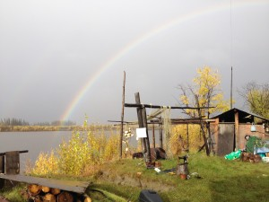 Rainbow over smokehouse in the fall of 2012. Photo by Angela Gonzalez