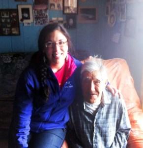 Agatha visits her Grandpa Solomon in Kaltag. Courtesy photo