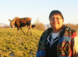 Marlene Watson with a cow and calf moose. Courtesy photo