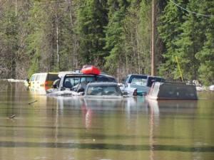 Crow Creek trucks submerged in Galena. Photo by Jason Kopp