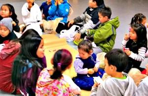 Kids participating in a Washtub Dance in Nulato. Photo by Martha Demoski