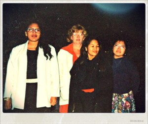 Teacher Susie Luck taught us proper table manners at a restaurant in Fairbanks. L-R: Michelle, Miss Luck, Tanya and Gloria. Photo by Angela Gonzalez