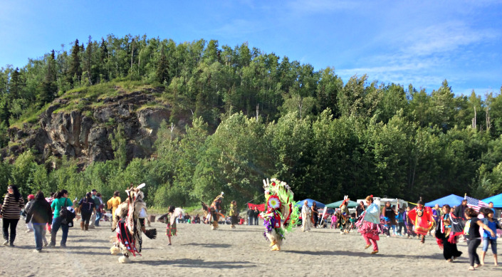 Powwow dancers on the last day of the 2014 Eklutna Potlatch/Powwow. Photo by Angela Gonzalez