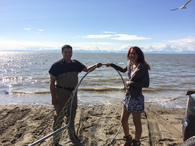 Sarbelio and his daughter, Janessa, at the mouth of the Kenai River. Photo by Angela Gonzalez