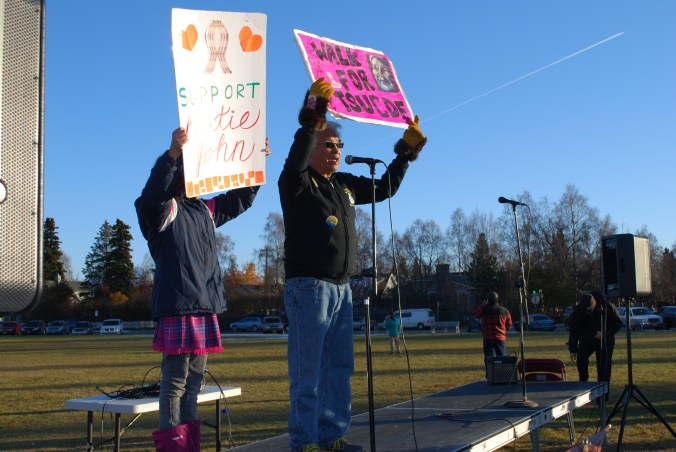 Fred John Jr. spoke at the Hunt Fish Share and Vote rally in Anchorage on Oct. 22. Photo by Angela Gonzalez