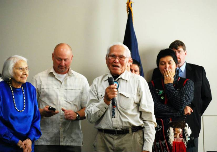 Athabascan Elder Robert Charlie talks about the importance of language at the ceremony. Photo by Angela Gonzalez