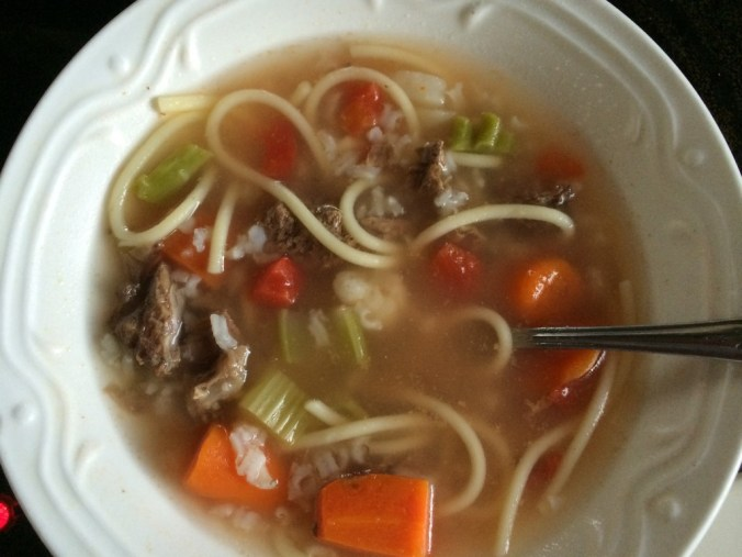 I love moose soup or stew. I make it with a mix of pasta and vegetables. Photo by Angela Gonzalez