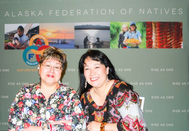 Sharon McConnell and Anna Sattler served as AFN broadcasters over the years. They are veteran broadcasters and have recognizable faces in Alaska. Photo by Angela Gonzalez