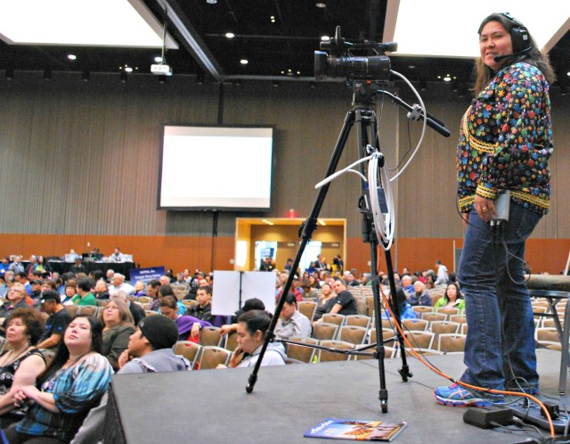 TT of Nome operates the camera during the AFN broadcast. A lot goes on behind the scenes to make the broadcast possible. Photo by Angela Gonzalez