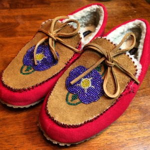 These are the first pair of beaded slipper moose skin slipper tops I completed. Photo by Angela Gonzalez