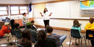 Jessica Edwin presents about the value of higher education in Glennallen in 2008. Photo by Angela Gonzalez