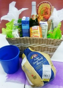 Here is an example of a Thanksgiving themed holiday basket. Photo by Robin Renfroe