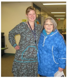 Mrs. Kupilik and Mrs. Palach show off their kuspuks for Alaska Native Heritage Month at Wendler Middle School.