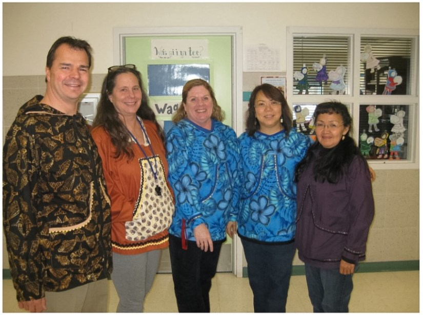 Wendler Middle School staff show off their kuspuks for Alaska Native Heritage Month. Left to right: Mr. Wilson, Mrs. Sager, Mrs. McMillan, Mrs. Carrillo, and Mrs. Luhrs. Courtesy photo