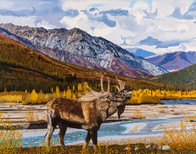 Moose Calling along the Dietrich River, an oil painting by Rose Albert. Courtesy image