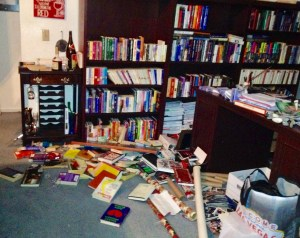 Books fell in Marie Jeno's home during the November 30th earthquake. Photo by Marie Jeno