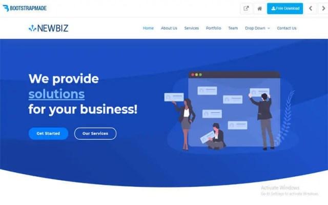 NewBiz website for free templates