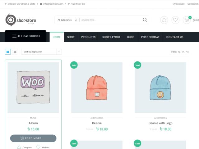 Preview screenshots of Shopstore