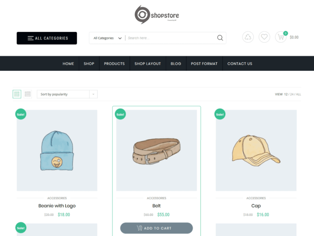 Preview screenshots of Store Commerce