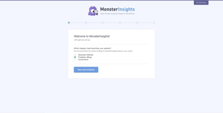 Configurando o plugin MonsterInsights.
