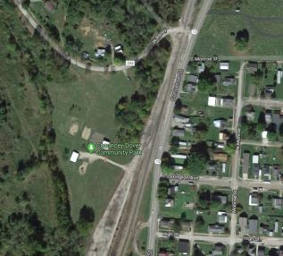Location of Chauncey Park, along the railroad tracks near State Route 13.