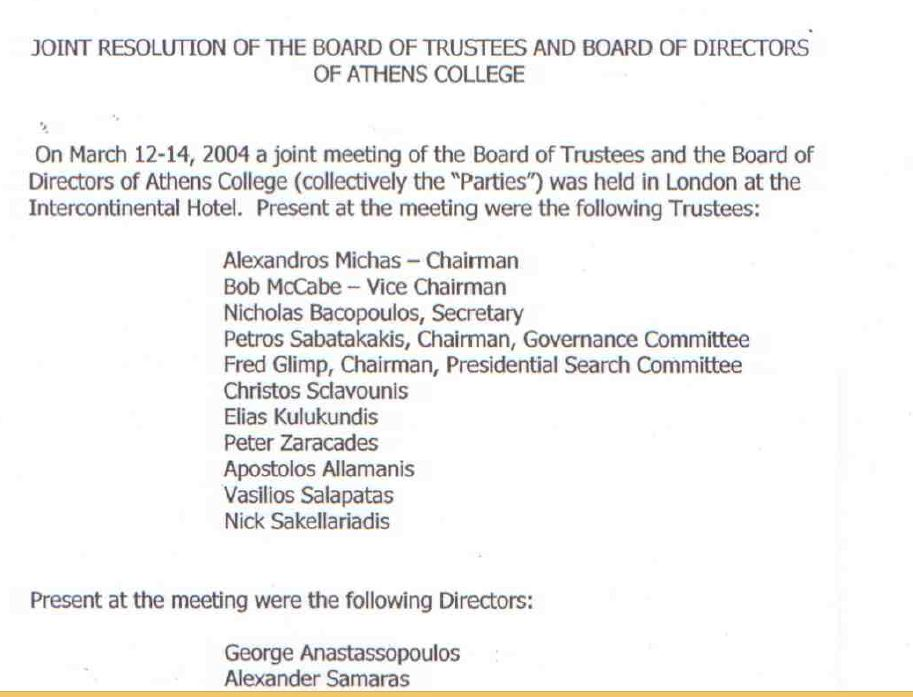 London Agreement Athens College Board Of Trustees
