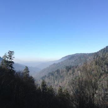 Views of hazy (from wildfires/air pollution) and blue smoke