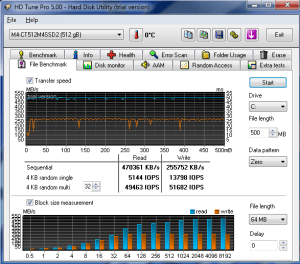 SSD Drive Performance for the new Core i7 machine (Using HD Tune Pro)