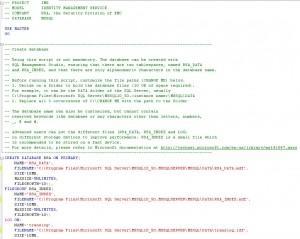 SSO - SQL Script (Database Creation)