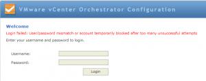 vCO Password Message