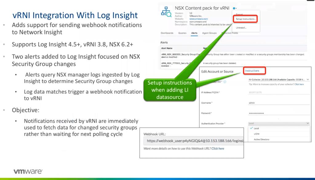 vRNI 38 - Integration with Log Insight