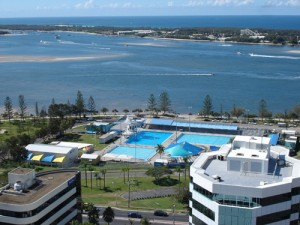 Southport Aquatic Center on The Gold Coast of Australia, with shark-free swimming. From: http://goo.gl/iTzYL
