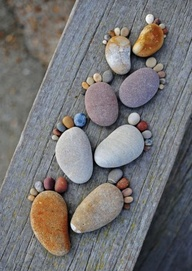 Stones sculpted into footsteps.