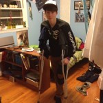 Nick on crutches after his snowboarding trip to Utah